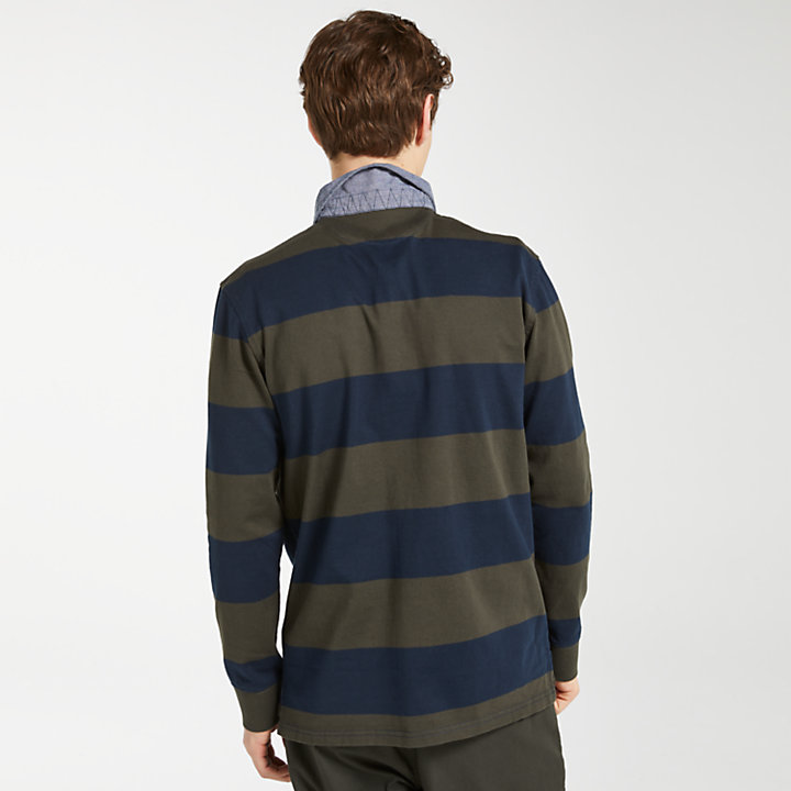Men's Long Sleeve Striped Rugby Shirt-