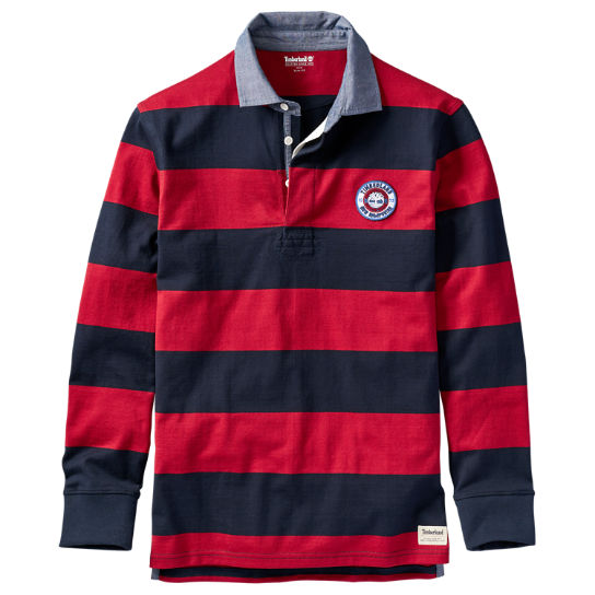 Men's Long Sleeve Striped Rugby Shirt