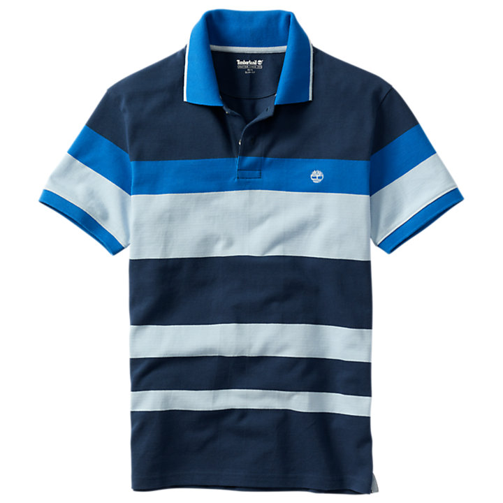 Men's Slim Fit Bright Blue Striped Polo Shirt-