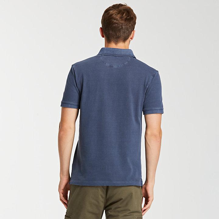 Men's Slim Fit Indigo Tipped Pique Polo Shirt-