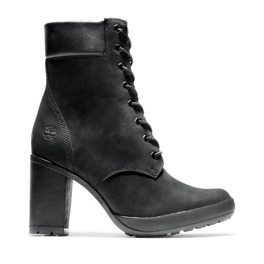 timberland heeled boots black