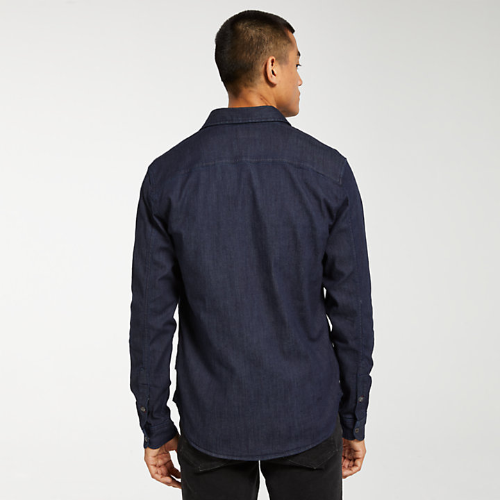 Men's Slim Fit Stretch Denim Shirt-