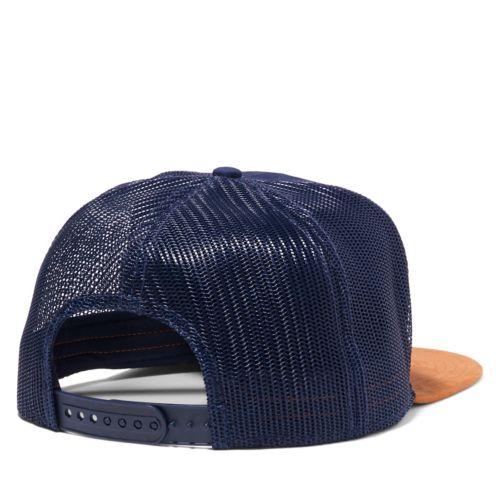 Men's Faux Suede-Brim Trucker Hat-