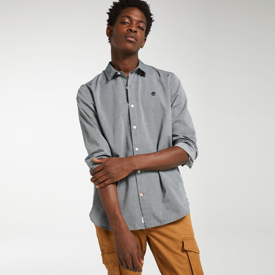 Men's Slim Fit Print Chambray Shirt