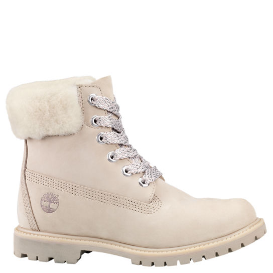 Women's 6-Inch Shearling Collar Waterproof Boots