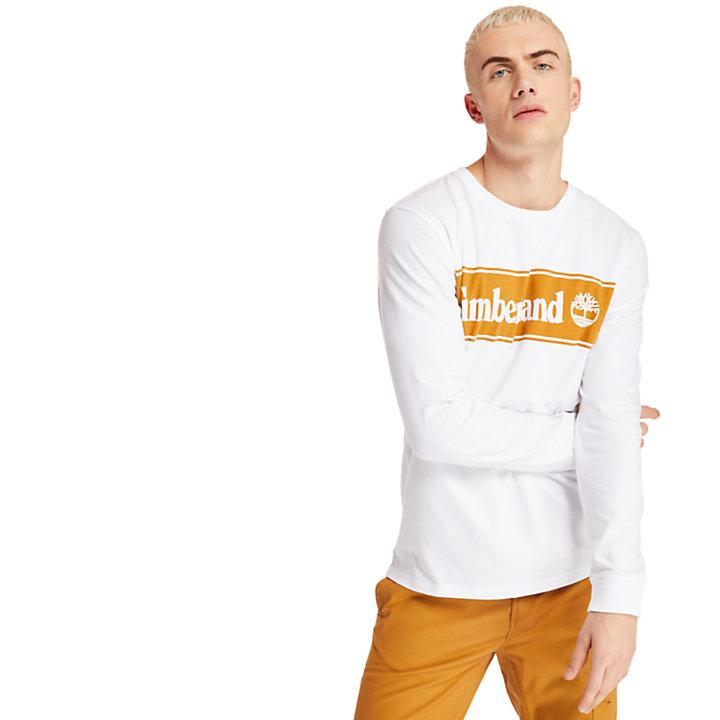 Men's Long Sleeve Linear Stripe Logo T-Shirt-
