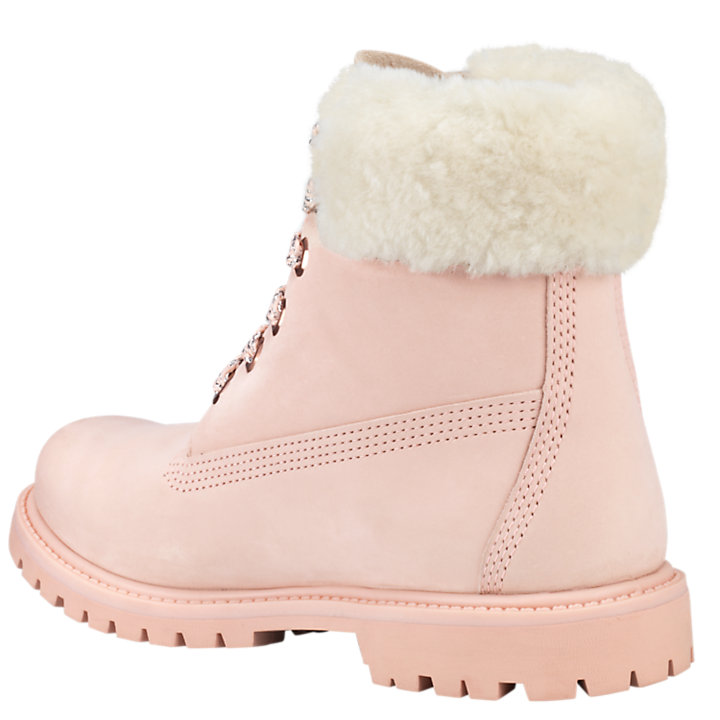 Women's 6-Inch Shearling Collar Waterproof Boots-
