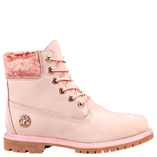 shoes, timberlands, pink, velvet, winter boots, ankle boots