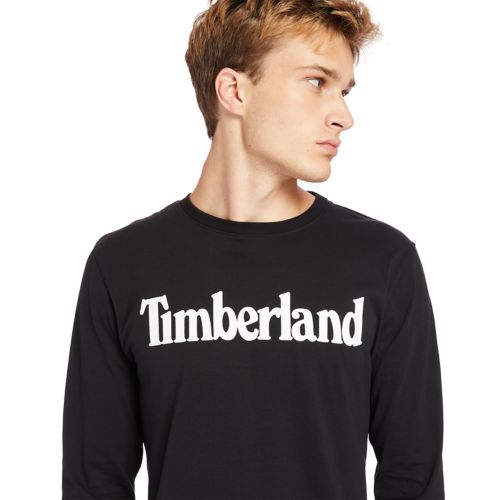 Men's Long-Sleeve Linear-Logo T-Shirt-