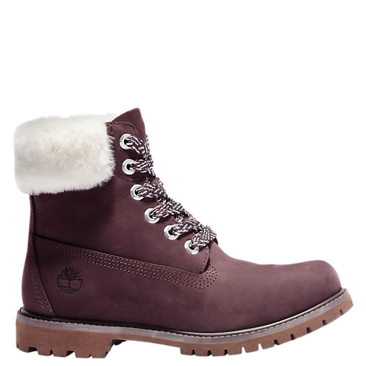 Women's 6-Inch Shearling Collar Waterproof Boots-