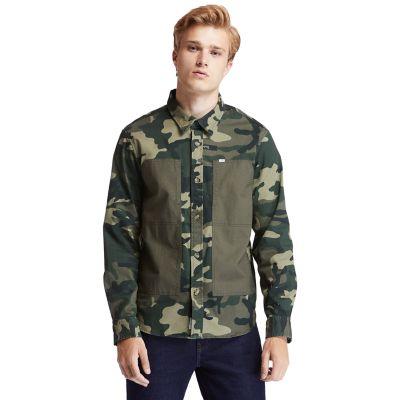Men's Mixed-Media Camo Utility Overshirt