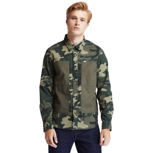 Men's Mixed-Media Camo Utility Overshirt-