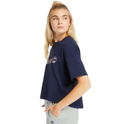 Women's Stippled Linear-Logo Cropped Tee-
