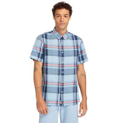 Men's Linen/Cotton-Blend Short-Sleeve Madras Shirt