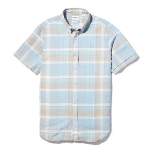 Men's Linen/Cotton-Blend Short-Sleeve Madras Shirt-