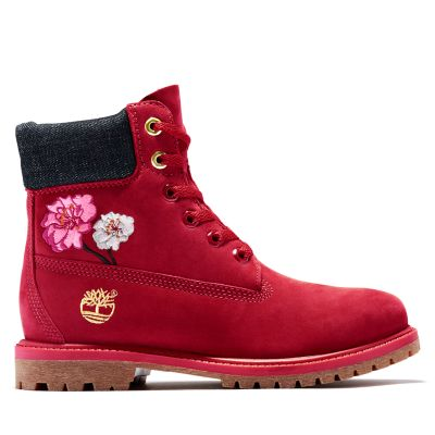Women's Embroidered Flowers 6-Inch Waterproof Boots
