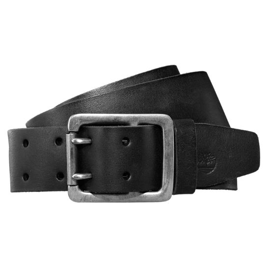 Men's Double-Prong Buffalo Leather Belt