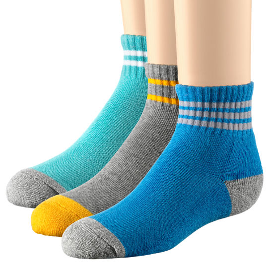 Kids' Striped Cotton Blend Quarter Sock 3-Pack