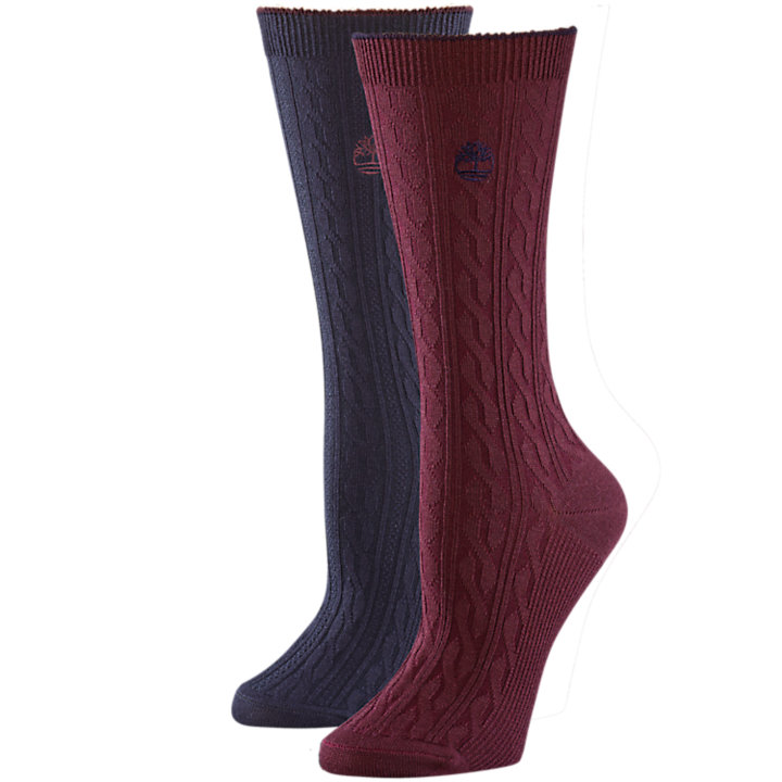 Women's Cable-Knit Wool Crew Socks (2-Pack)-